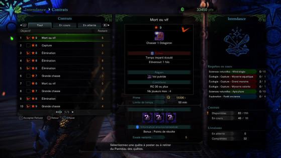 Favorisez les contrats avec le maximum de cases violettes - Monster Hunter World