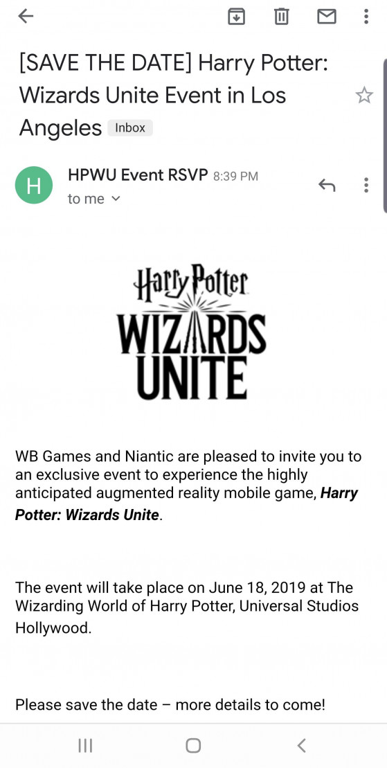 Le mail de l'invitation - Harry Potter Wizards Unite