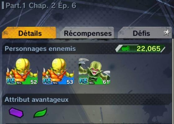 Ici par exemple, vous aurez l'avantage en utilisant des personnages d'attribut Violet ou Vert. - Dragon Ball Legends