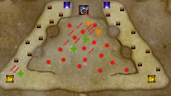 Les points rouges sont les différents adversaires invoqués par les Milles gueules - World of Warcraft