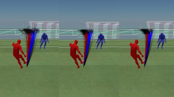 De gauche à droite : avant patch 3 / après patch 3 / après patch 7 - FIFA