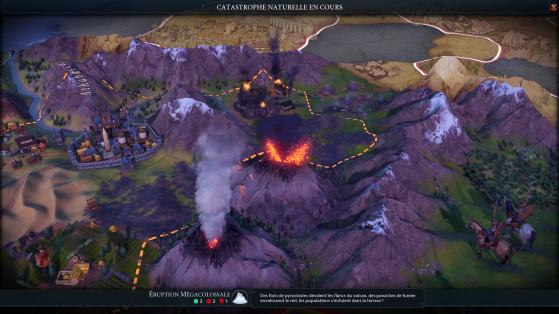 Les volcans gagnent en portée avec l'intensité des catastrophes. - Civilization 6