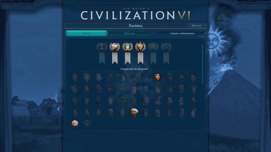 Le panthéon vous aidera à suivre vos accomplissements. - Civilization 6