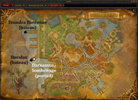 Hurlevent, emplacements du portail et des bateaux au Port - World of Warcraft