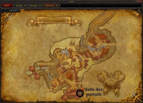 Orgrimmar, emplacement de la salle des portails située à la Porte d'Orgrimmar - World of Warcraft
