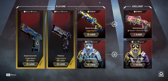 Apex Legends boutique éphémère : skins du 12/07