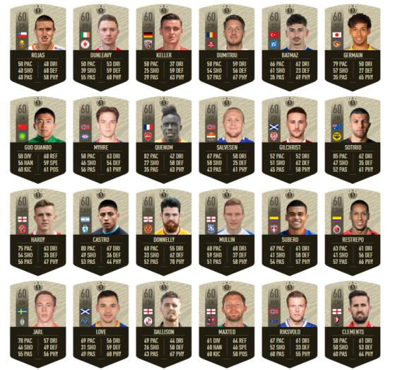 La liste complète des jetons de joueurs que vous devrez récupérer. - FIFA