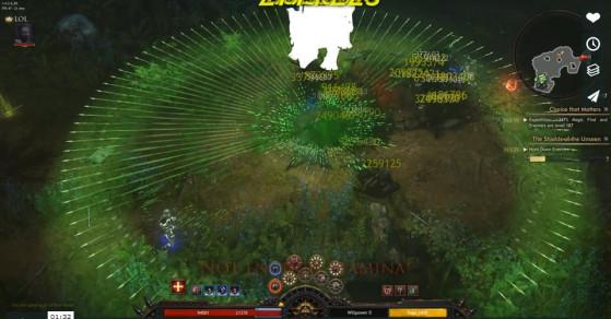 Certains joueurs se sont préparés des builds absurdes et surpuissants à base de projectiles additionnels. - Wolcen