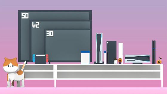 PS5, dimensions : La console mise en situation dans un salon