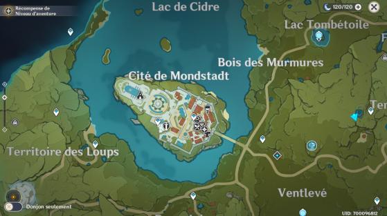 La cité de Mondstadt sur la carte - Genshin Impact