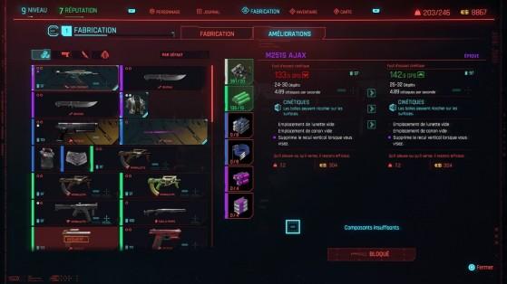 L'amélioration vous permet d'augmenter le niveau de rareté ou les dégâts d'une arme - Cyberpunk 2077