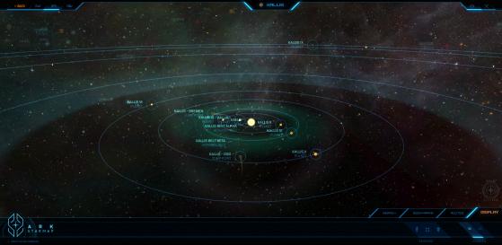 Kallis et ses astres dans la Starmap - Star Citizen