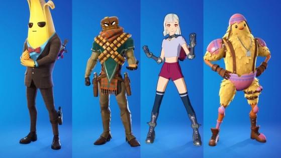 Une banane, une tronche de Cake, un personnage de Manga et un PiouPiou : une squad normale pour un jour normal sur Fortnite. - Fortnite : Battle royale