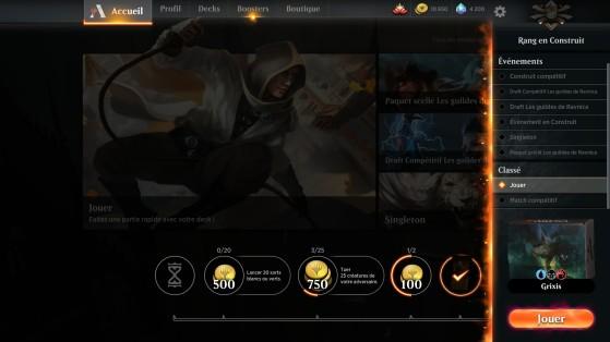 Le jeu propose de nombreux modes, affichés sur la droite en cliquant sur le bouton