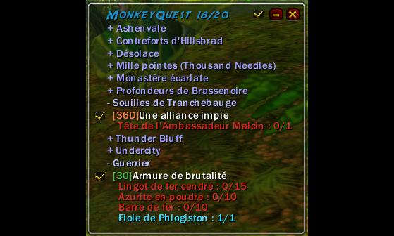 L'affichage en jeu du journal de quête de MonkeyQuest - WoW : Classic