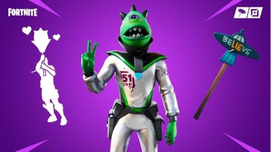 Boutique Fortnite : skin Alien zone 51 et emote Naruto Runner
