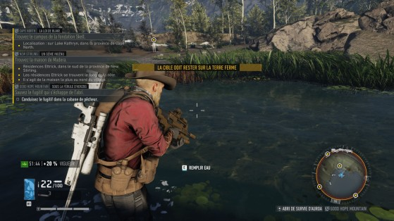 Régulièrement, le jeu vous rappelle que ce n'est pas vous qui décidez comment jouer, comme ici, où je ne pouvais ramener ce civil qu'en véhicule terrestre, alors que le bateau était clairement une meilleure solution. - Ghost Recon Breakpoint