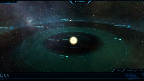 Croshaw et ses astres dans la Starmap - Star Citizen