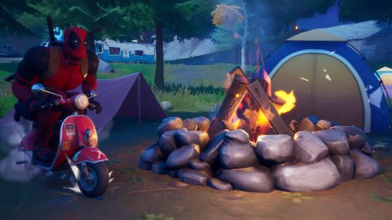 Fortnite : Raviver un feu de camp, manger une pomme, manger un champignon, défi Aventure de Skye