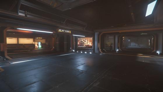 Les couloirs vers l'espace de repos (droite) et les commerces (gauche) - Star Citizen