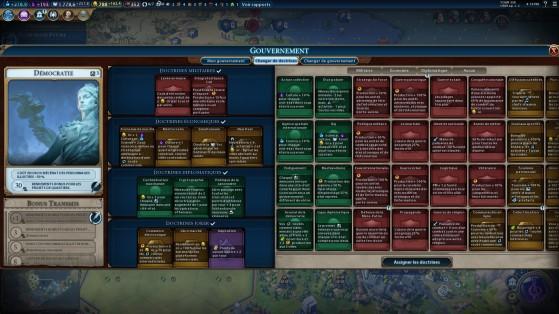 Au début limitées à quatre doctrines pour deux emplacements, les options vont rapidement croître. - Civilization 6