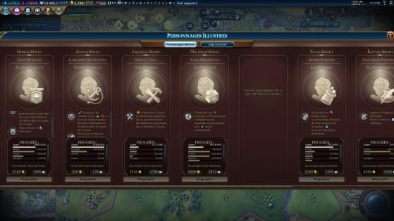 La fin de partie se jouera parfois un peu sur la chance en fonction des personnages illustres disponibles. - Civilization 6