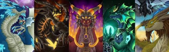 Aucun dragon n'est apparu depuis Chromie, l'un d'eux (de g. à d. : Kalecgos, Neltharion, Alexstraza, Ysera et Nozdormu) surgira t-il dans le Nexus cette année? - Heroes of the Storm