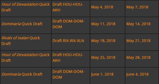 Planning des disponibilités des différents Drafts pendant cette bêta fermée - Magic Arena