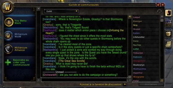 Discussion et liste des membre de la guilde - World of Warcraft