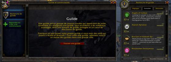 Panel de recherche de guilde - World of Warcraft