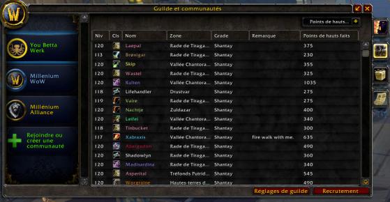 Liste des membres de la guilde - World of Warcraft
