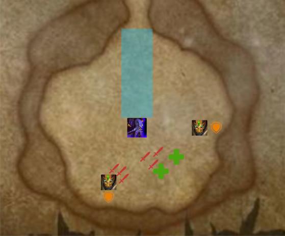 La zone bleue correspond au Rayon d'oblitération, les deux icônes espacés sont les Destructeurs n'raqi - World of Warcraft