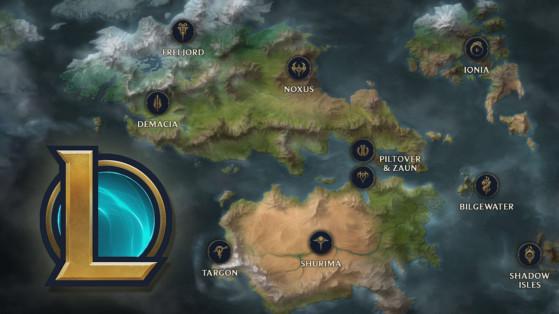 LoL, Lore : Nouvelle map de Runeterra, avec Noxus, Ionia, Demacia ...