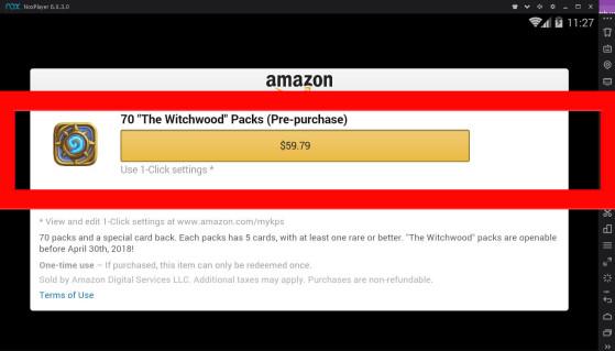 Validez votre achat par le biais d'Amazon en utilisant vos Amazon Coins. - Hearthstone