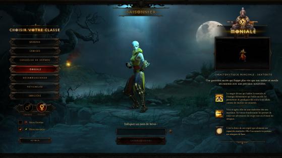 L'écran de création d'un personnage - Diablo 3