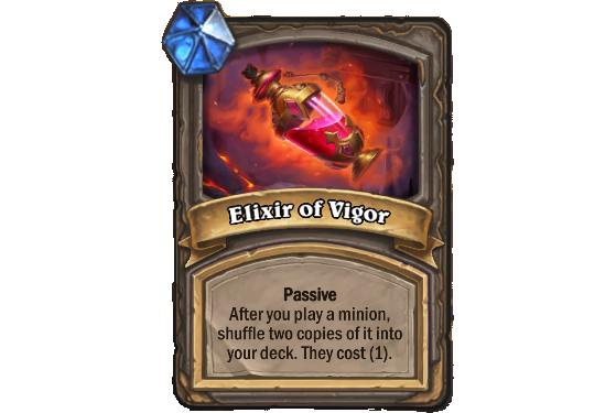 Passif. Après que vous avez joué un serviteur, en mélange deux copies dans votre deck. Elles coûtent (1) - Hearthstone