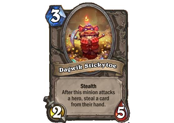 Camouflage. Après que ce serviteur attaque un héros, vole une carte de sa main - Hearthstone