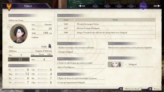 Il faudra souvent revenir aux fiches détailles des personnages afin de savoir quel cadeau leur offrir. - Fire Emblem Three Houses