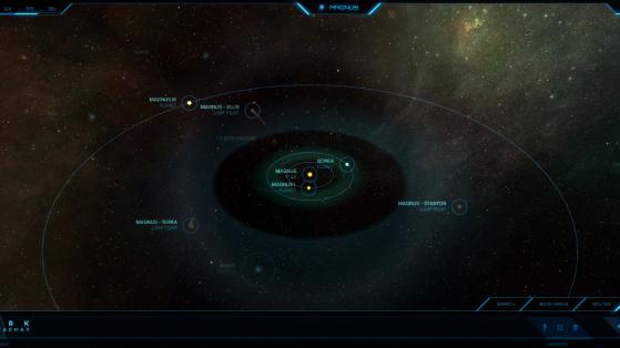 Magnus et ses astres dans la Starmap - Star Citizen