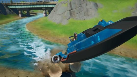 Fortnite : traverser plusieurs cercles enflammés à bord d'un canot motorisé, défi saison 11