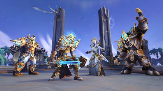 Congrégation des Kyrians : ensembles de transmogrification d'armure en maille (gauche), plaques (centre gauche), tissu (centre droit) et cuir (droite). - World of Warcraft