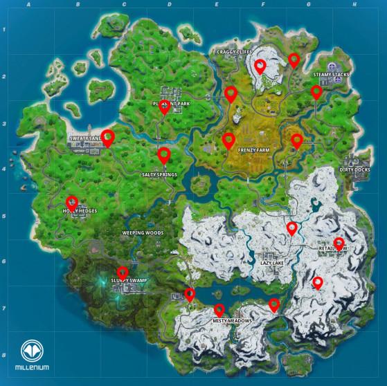 Localisation des arrêts de bus - Fortnite : Battle royale