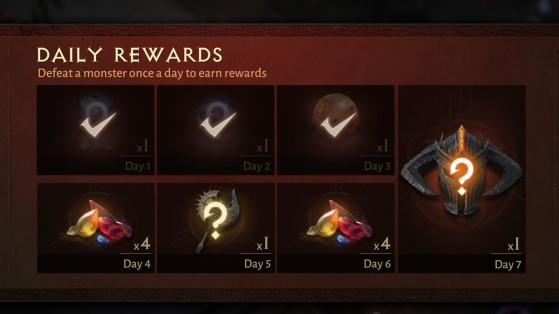 Récompenses quotidiennes Diablo Immortal, bonus de connexion