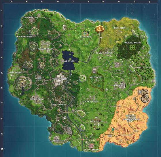 L'étoile se trouve au nord-est de Lazy Links, au bord de la carte. - Fortnite : Battle royale