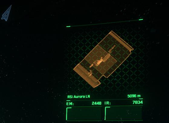 La fleche bleue (en haut à gauche) indique dans quelle direction il faut tourner pour voir la cible. A droite l'indicateur d'état de la cible. - Star Citizen