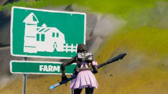 Fortnite : Trouver le nain de jardin entre circuit de course, carré de choux et panneau Farm
