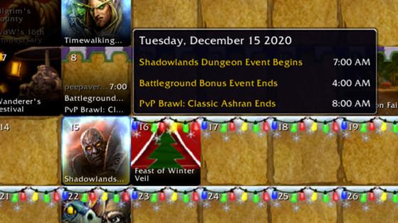 WoW Shadowlands : Non, le calendrier en jeu n'indique pas la date de sortie de l'extension