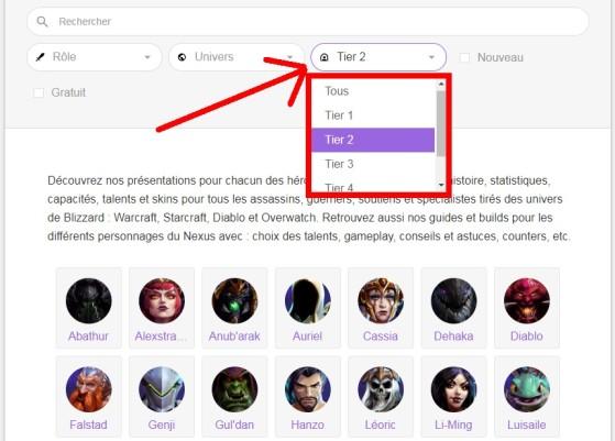 Affichez grâce au menu le tier sélectionné - Heroes of the Storm