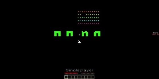 Space Invaders reproduit dans Minecraft