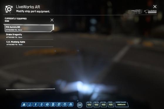 Sélection de votre vaisseau dans la liste apparaissant à l'écran - Star Citizen